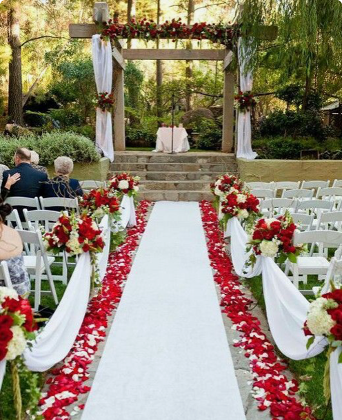 rose petal decor, decor, decor ideas, red roses, red rose petals,  wedding decor ideas, ideas for wedding decor, aisle decor, aisle decoration, aisle decoration