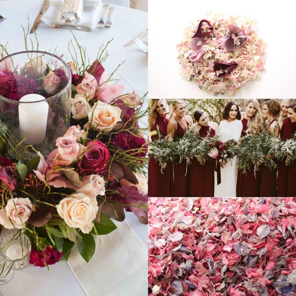 Burgundy and blush confetti wedding ideas