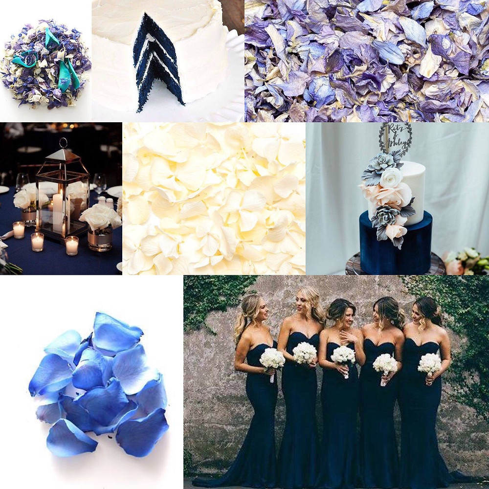 Navy and white confetti wedding ideas