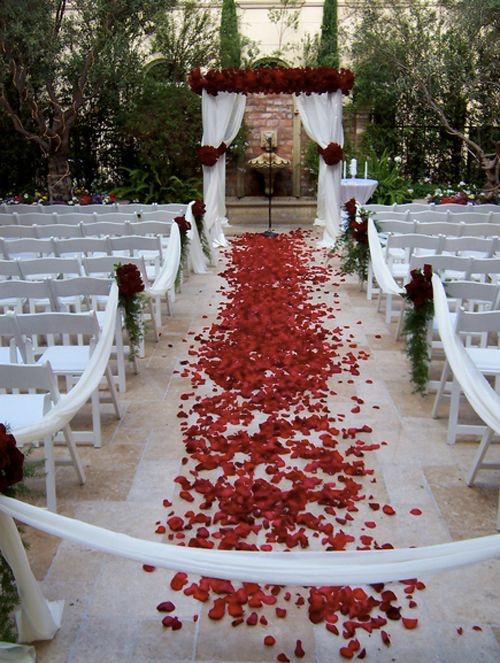rose petal decor, decor, decor ideas, red roses, red rose petals,  wedding decor ideas, ideas for wedding decor, aisle decor, aisle decoration, aisle decoration
