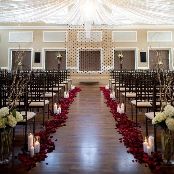 rose petal decor, decor, decor ideas, burgundy roses, burgundy rose petals,  wedding decor ideas, ideas for wedding decor, aisle decor, aisle decoration, aisle decoration