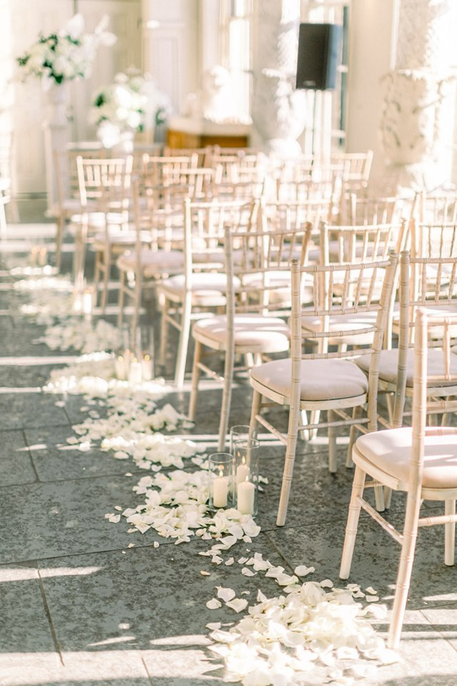 rose petal decor, decor, decor ideas, ivory roses, ivory rose petals,  wedding decor ideas, ideas for wedding decor, aisle decor, aisle decoration, aisle decoration