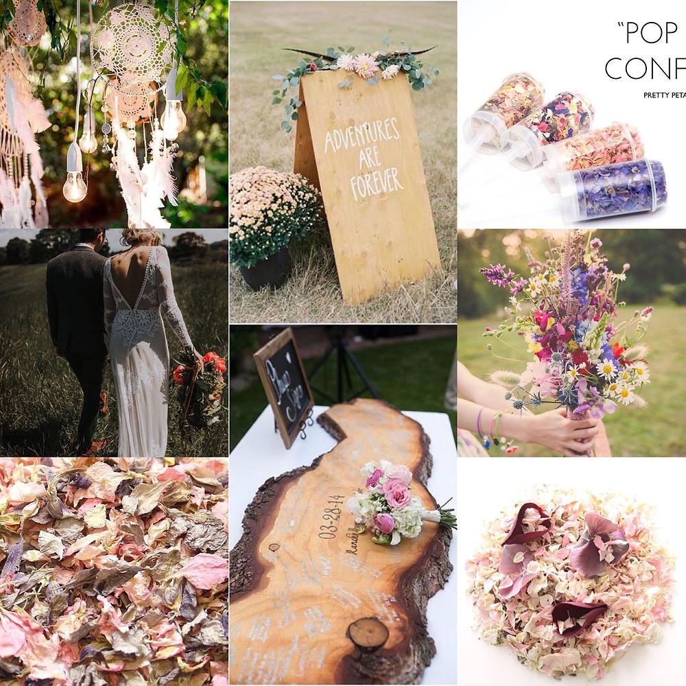 Boho confetti wedding ideas