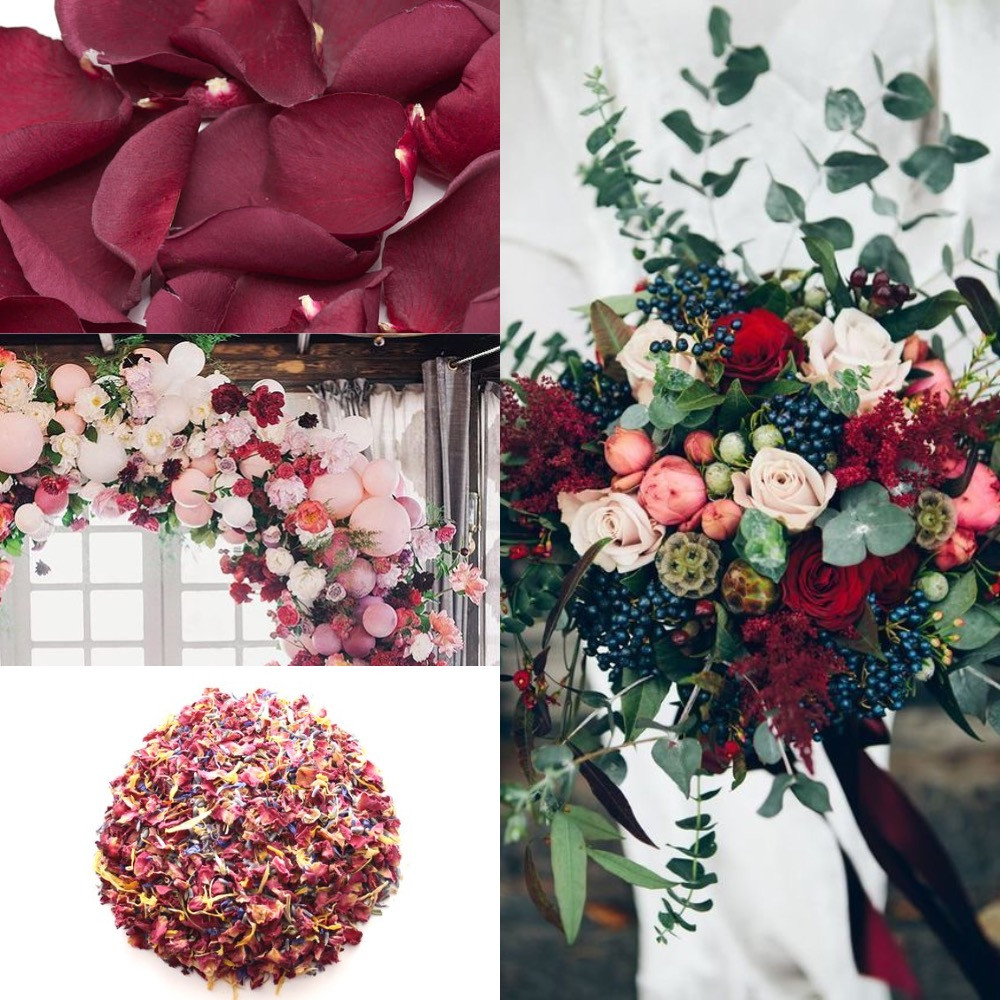 Red and blackberry confetti wedding ideas