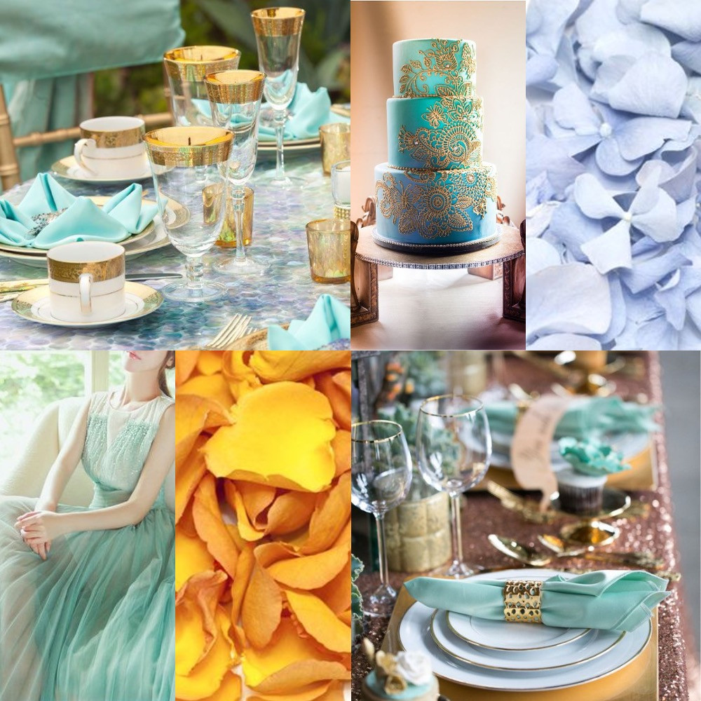 Turquoise and gold confetti wedding ideas