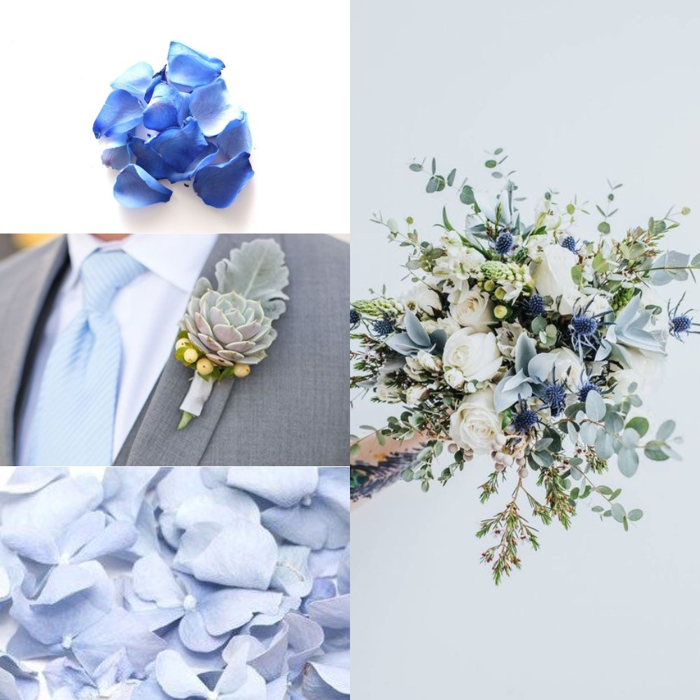 Dusty blue and green confetti wedding ideas