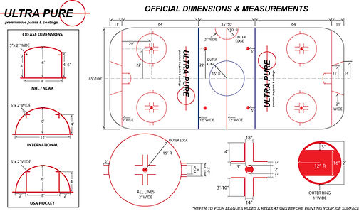 HOCKEY ICE PAINT DIMENSIONS, OFFICIAL MEASUREMENTS FOR PERSONAL USE DURING NEXT ICE PAINT INSTALLATION. BEST USED WITH ULTRA PURE PREMIUM ICE PAINTS