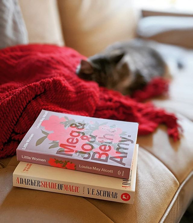 two books near a blanket and a cat from booksterjess instagram