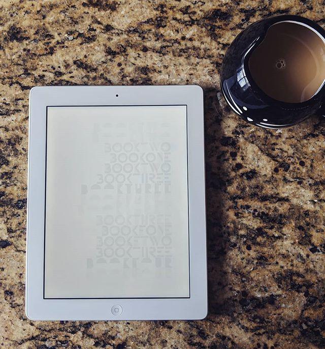 ebook on iPad with coffee mug