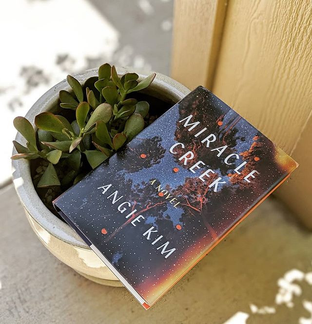 book on top of planter