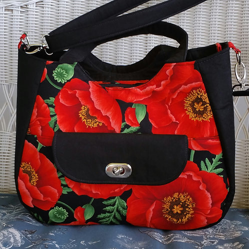 Red Poppies on Black Purse