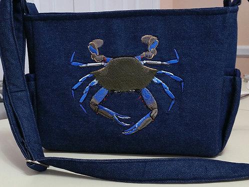 Blue Crab on Denim Purse