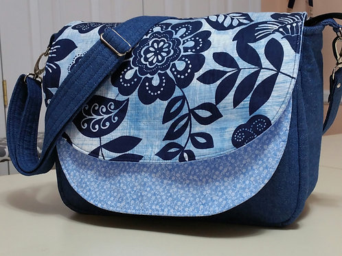 Blue Flower Denim Purse