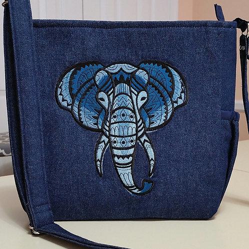 Blue Elephant Embroidered Purse