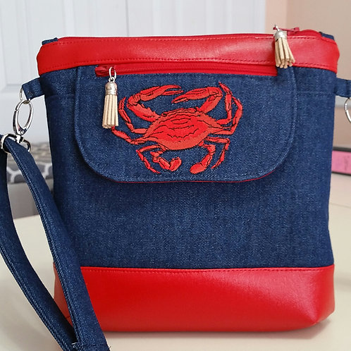 Embroidered Crab and Denim