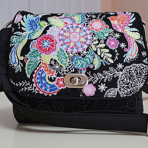 Birds and Flowers on Black Purse