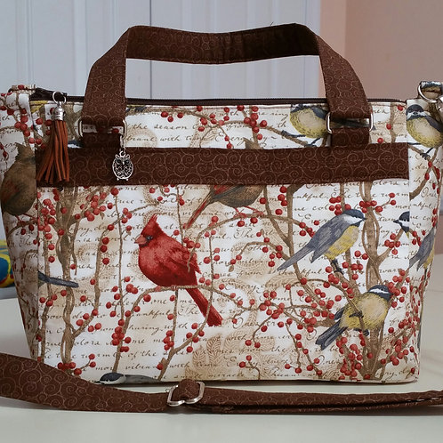 Birds Double Zip Handbag