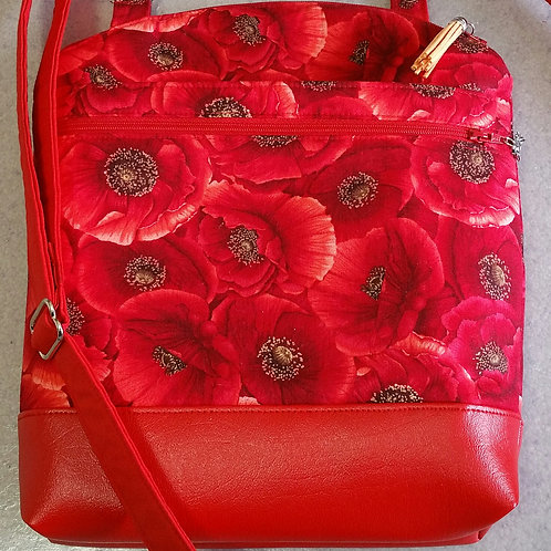 Red Poppies Purse (Made in USA by the Chesapeake Bay) NEW