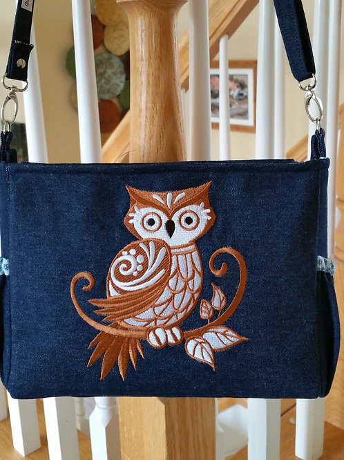 Denim and Owl  Purse