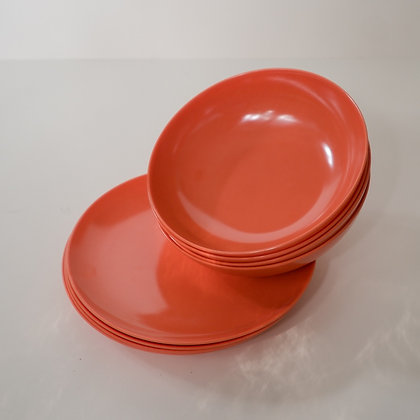 Coral bowls and plates