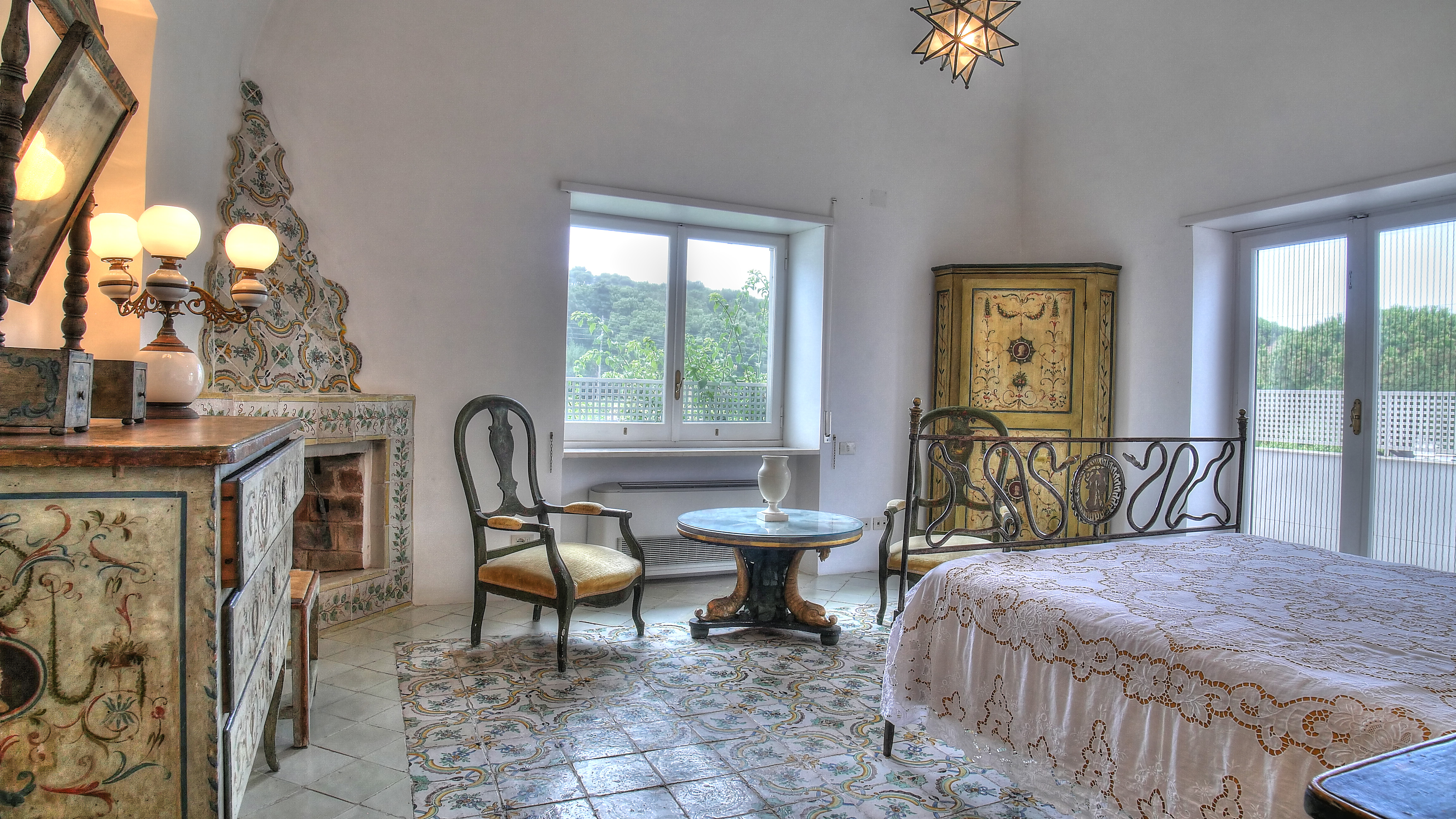 ISLAND OF CAPRI ITALY VILLA BEDROOM SUITES WITH FIREPLACE
