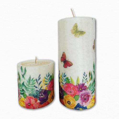 Velón decorado con aroma 20 cm x 10 cm