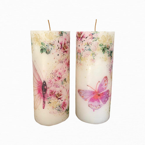Velón decorado con aroma 14 cm x 6 cm