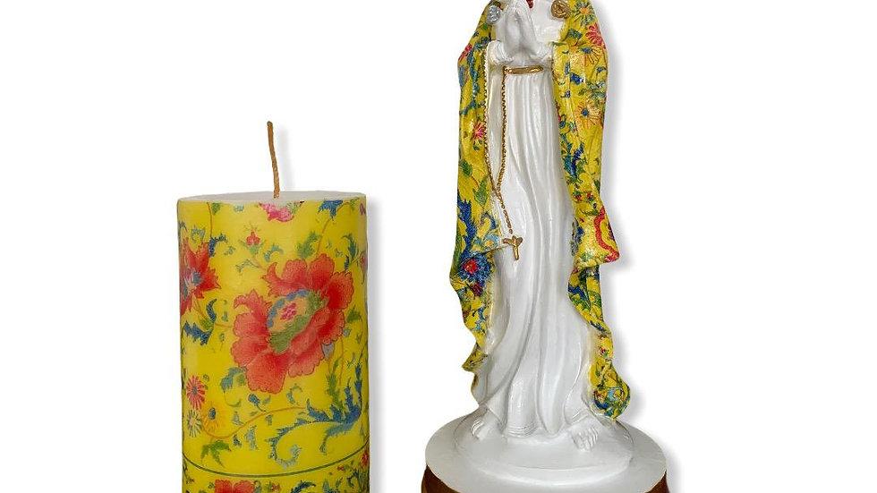 Kit Virgen Rosa Mística 21 cm con Vela decorada