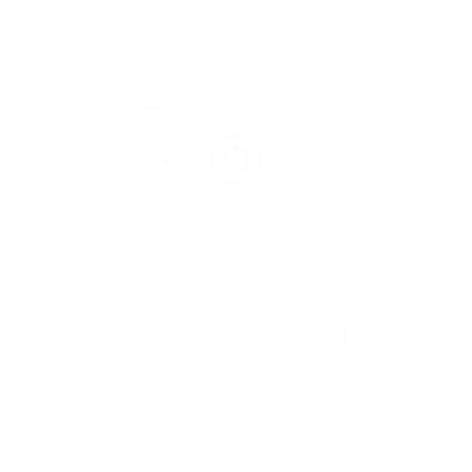 sacred realms. large. white transparent.