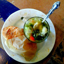 Hand pie and soup