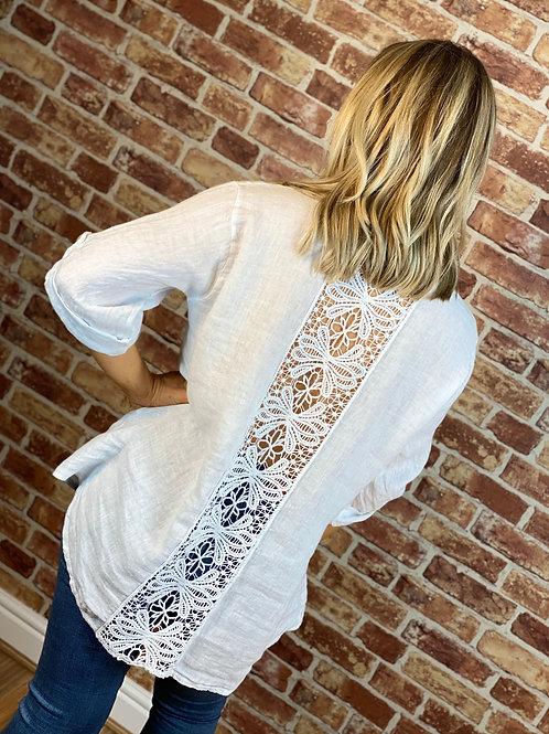 Linen Sequin Lace Back