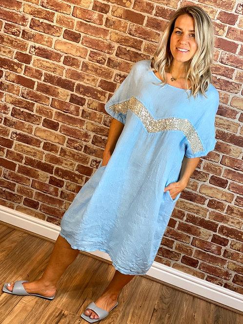 Glitz V Linen Dress