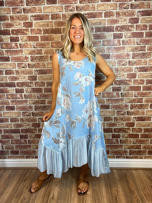 Linen and Silk Peony Dress