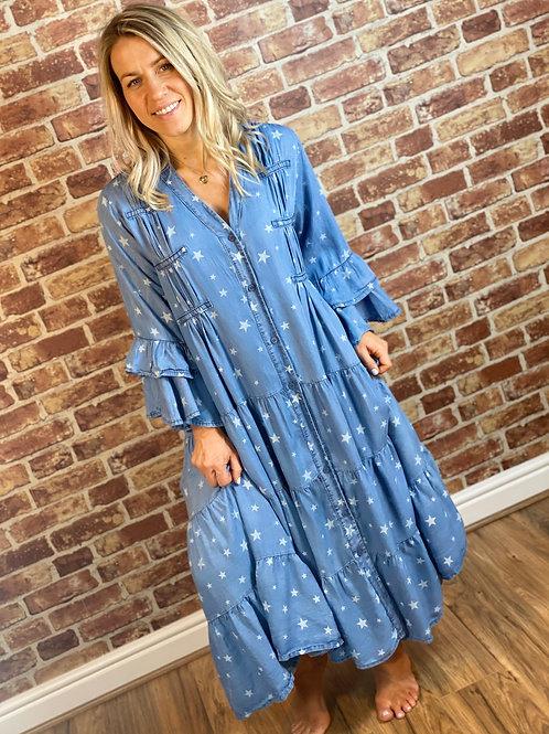Denim Star frill Dress