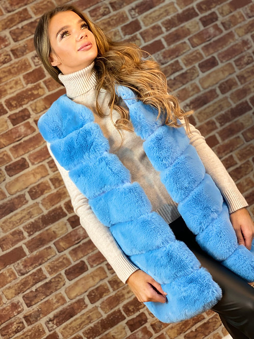 Long Fur Panel Gilet- Bright Blue and Pink