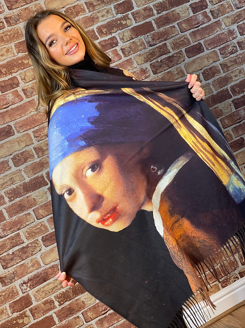 Cashmere Oil Painting Scarf- Design 10