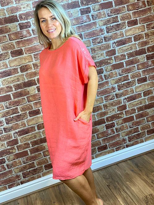 Linen Sparkle Shoulder Dress