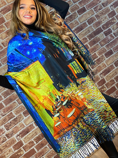 Cashmere Oil Painting Scarf- Design 11