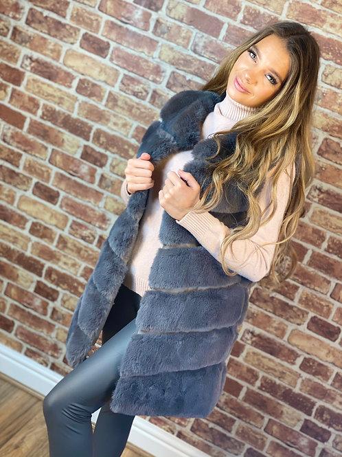 Long Fur Panel Gilet- Khaki,Grey and Pink