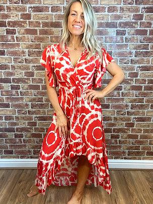 Giraffe Swirl Ruffle Dress