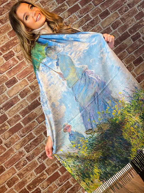 Cashmere Oil Painting Scarf- Design 8