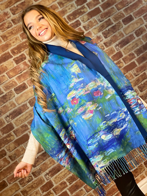 Cashmere Oil Painting Scarf- Design 7