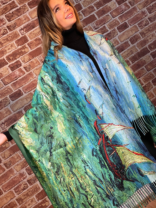 Cashmere Oil Painting Scarf- Design 15