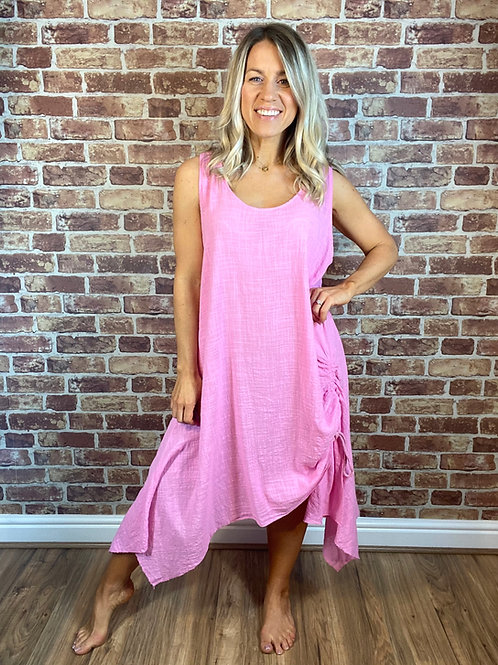 Cotton Ruched Side Dress