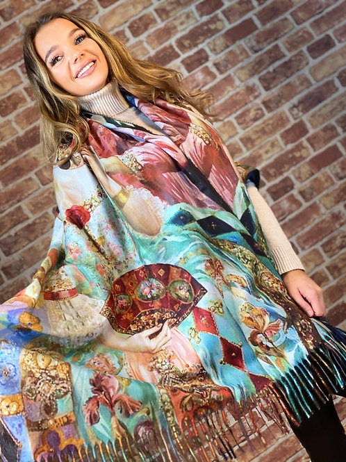 Cashmere Oil Painting Scarf- Design 4