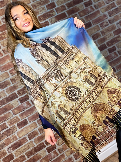 Cashmere Oil Painting Scarf- Design 12