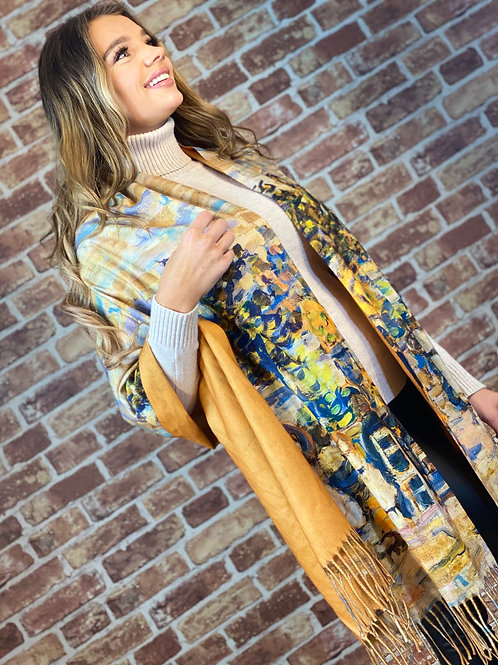 Cashmere Oil Painting Scarf- Design 2