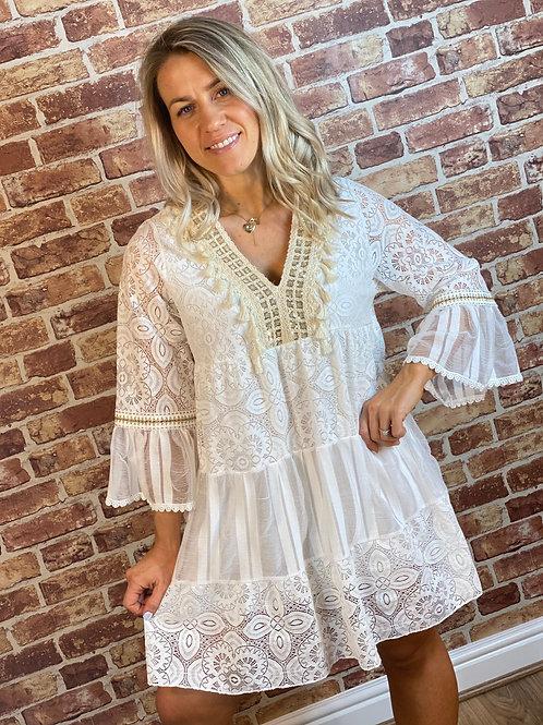 Lace Tassel Dress- Gold Sequin