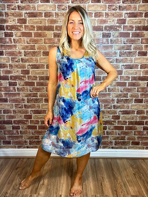 Silk Colour Splash Dress