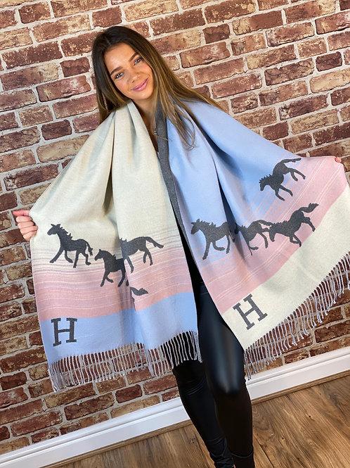 Cashmere Horse H Scarf